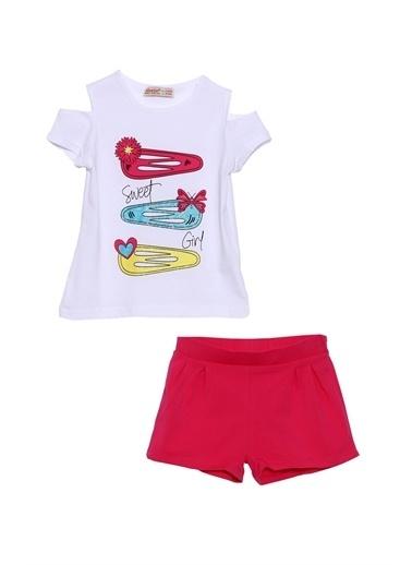 Silversun Kids Kız Çocuk Baskılı Tişört Ve Şort Takımı Kt 218167 Beyaz